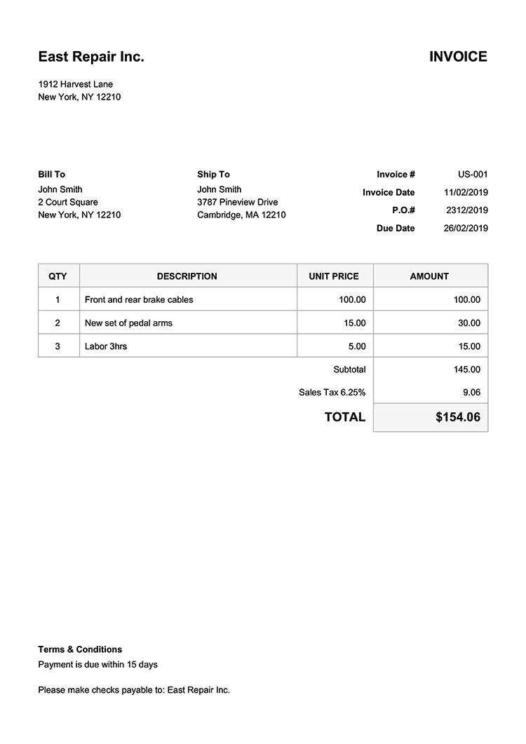 Example Accounts Payable Invoice